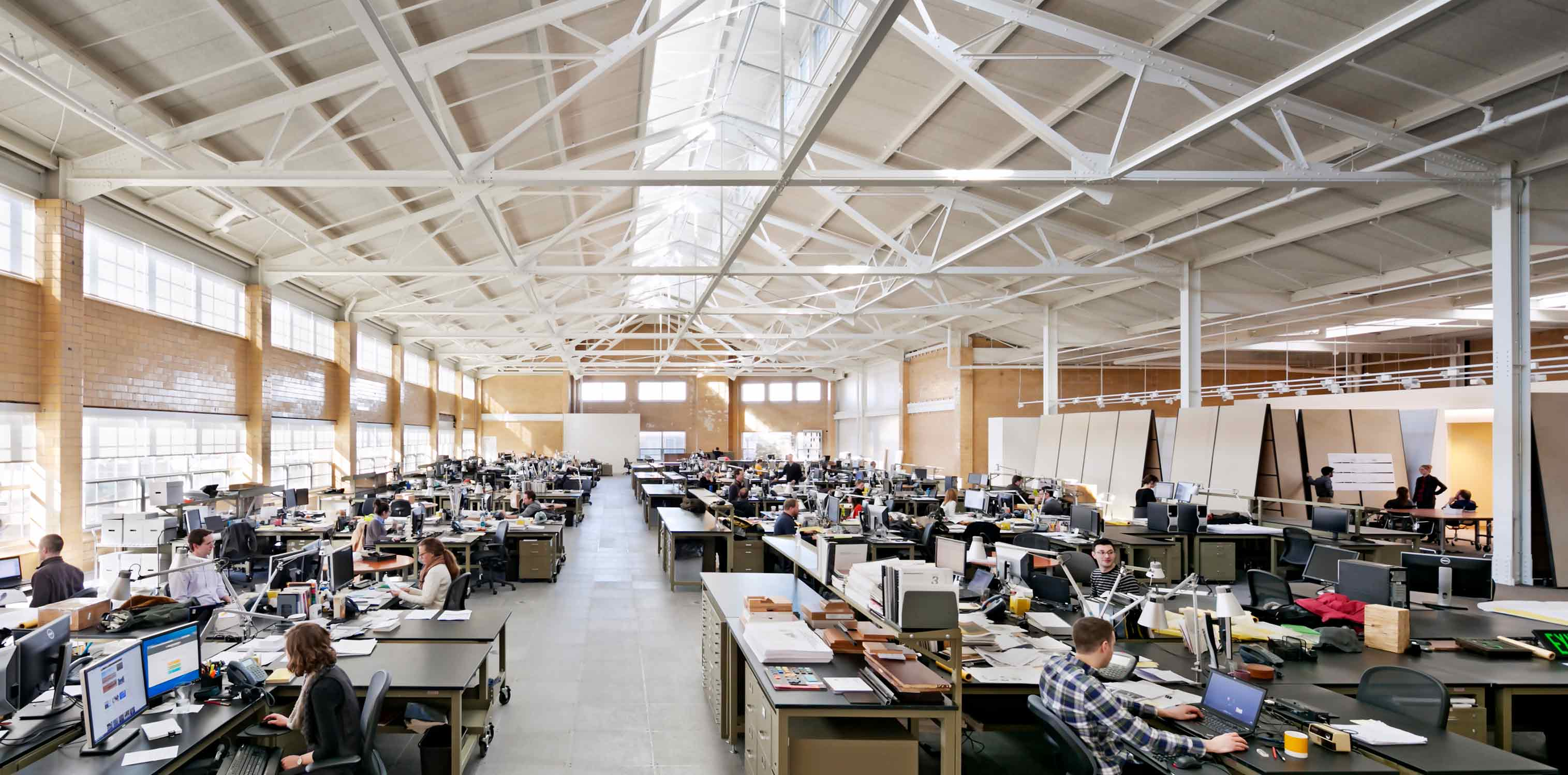 <p>Our large, daylit studio is designed to support our flexible, collaborative, and transdisciplinary culture.<br> <br /><small>©Michael Moran</small></p>
