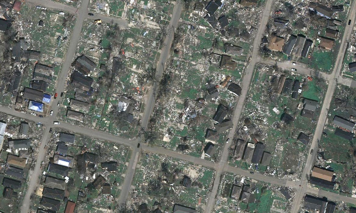 <p>As shown in this aerial photograph, the Lower Ninth Ward suffered some of the most devastating effects of Hurricane Katrina in New Orleans.</p>