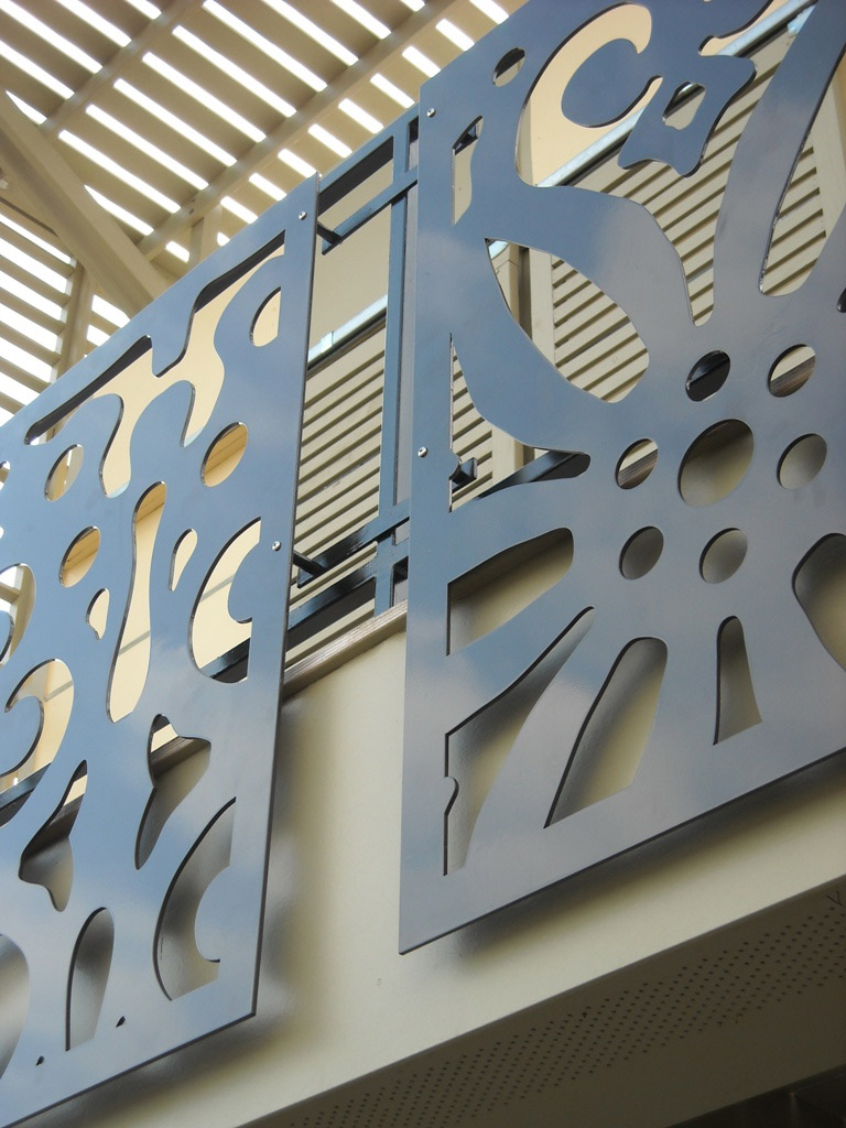 <p>An ornamental railing was fabricated by A. Zahner Company from aluminum sheet cut with a water jet.</p>