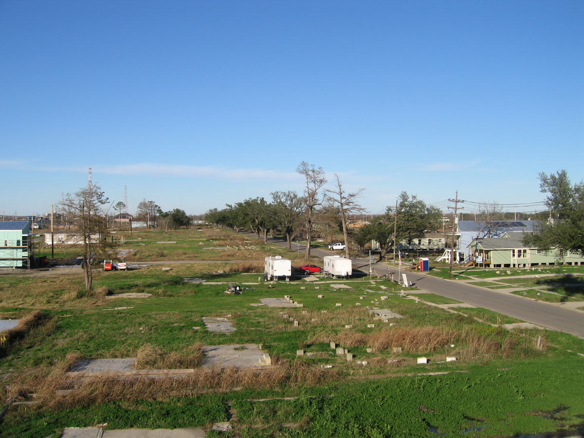<p>The low-lying site shows few standing residences in the Lower Ninth Ward neighborhood post-Hurricane Katrina. Designs for Make It Right homes needed to meet federal flood standards, and each needed to include an area of refuge on the roof in case of flooding.</p>