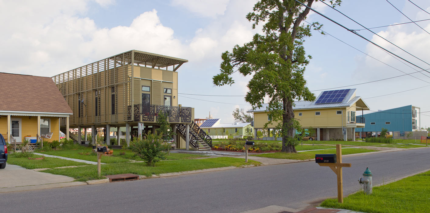 <p>Special NO 9 House on Tennessee Street was the first KieranTimberlake sustainable home constructed in New Orleans' Lower Ninth Ward.<br ><small>© Will Crocker</small></p>