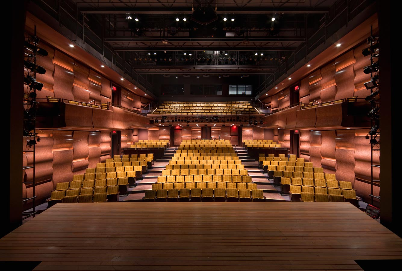 <p>The proscenium opening is 30 feet wide by 22 feet tall, with a stage house height of 70 feet. The theater is one of the most accessible performance venues in the region. In addition to having prime performance seats in all wheelchair accessible areas, the main level of the building, stage, and back-of-house areas are all aligned with the center of the theater. A state-of-the-art assisted listening system is also available for those with hearing impairments. <br> <small>© Peter Aaron/OTTO</small></p>