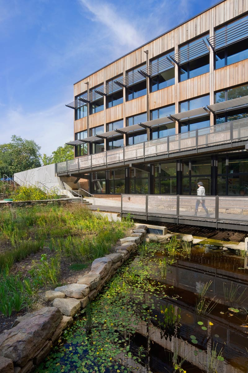<p>A series of scuppers, open downspouts and gutters, flow forms and spillways direct rainwater to a biology pond and rain garden that supports the native habitat and serves as a programmatic component of the science curriculum. <br><small>© Albert Vecerka/Esto</small></p>