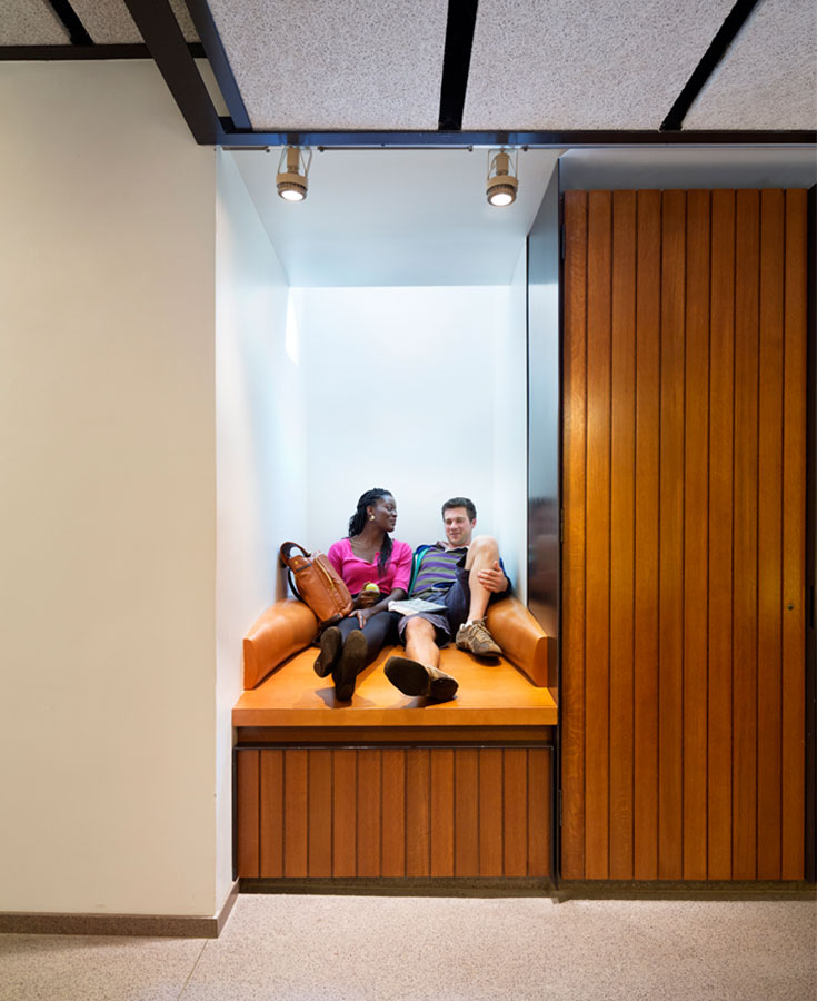 <p>A skylit niche is a comfortable, fully wired space for study along the new social corridor. <br> <br /><small>© Michael Moran/OTTO</small></p>