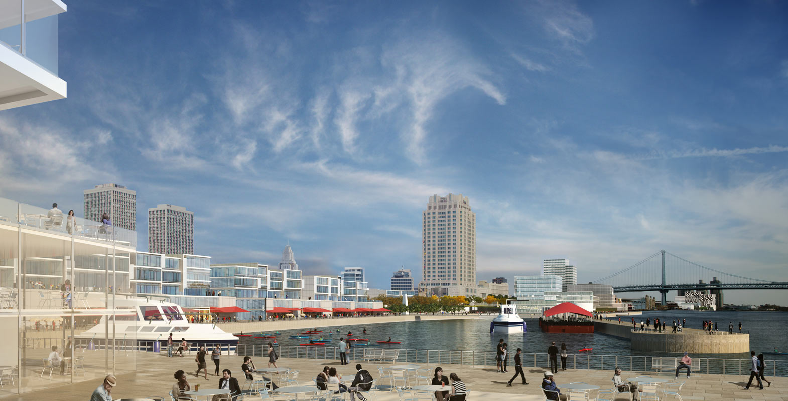 <p>At the Penn's Landing basin, mid-rise residential development is proposed, with waterfront restaurants and retail on the bottom two floors, and floating restaurants attached to the quay.</p>