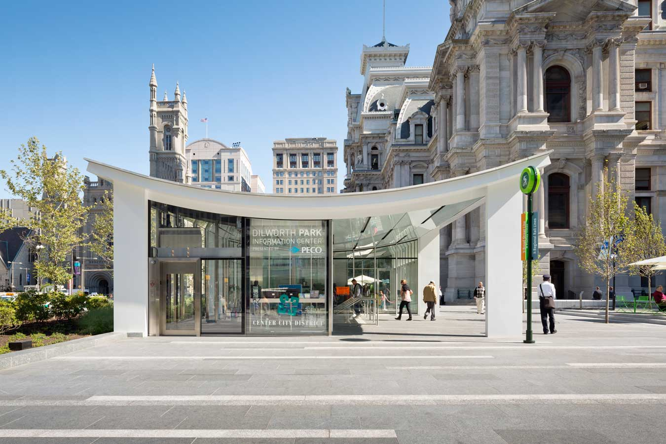 <p>The café, which is positioned for optimal sunlight and mile-long views down Benjamin Franklin Parkway, is another building of singular materiality—like City Hall (stone) and the transit pavilions (glass). In this case, Architecturally Exposed Structural Steel (AESS) was used for both structure and finish. <br><small>&copy; James Ewing Photography</small></p>