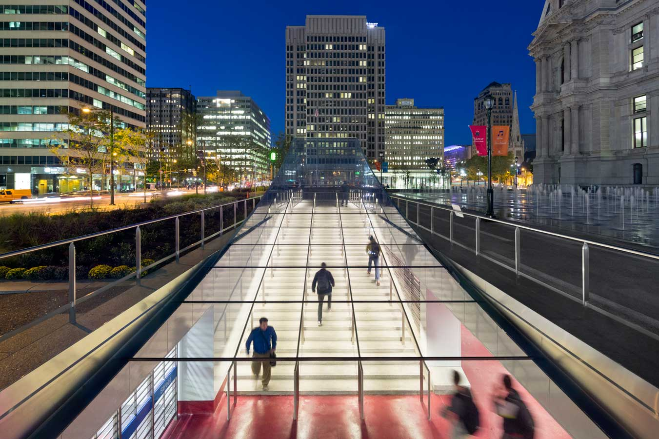 <p>Improved light quality in the concourse, combined with illuminated access points and a new way-finding system all contribute to safer and clearer passage. <br><small>&copy; James Ewing Photography</small></p>