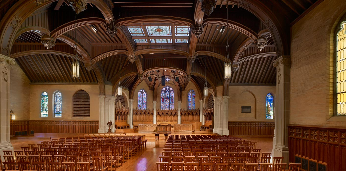 <p>The 125 year-old Houghton Chapel was restored to its original beauty in the first phase of renovation. All building systems were replaced, acoustics were improved, and the building was enhanced with handicap accessibility features, including a discreet ramp to the altar. <br><small>&copy; Halkin Photography LLC</small></p>