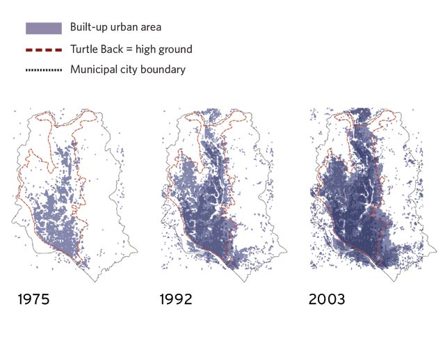 Original analysis captures the present circumstances in Dhaka, including factors that influence human health, urban density, agricultural yields, flooding, land values, climate change, and more.