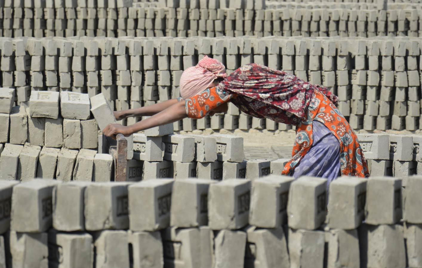 <p>A brick kiln worker pushes a cart of green bricks (week-old, air-dried bricks) among stacks of drying bricks in Savar district.</p>