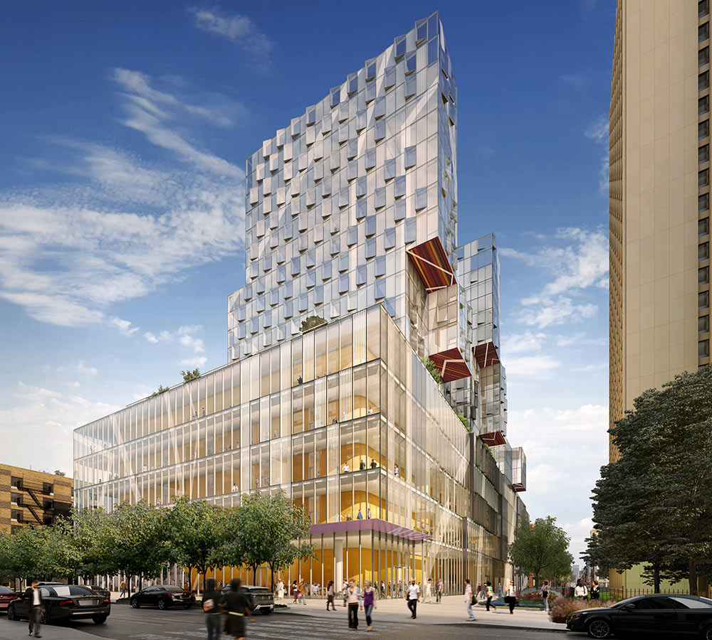 <p>Its transparent facade takes advantage of the building's 360-degree relationship with the neighborhood and allows 181 Mercer to rely primarily on natural light throughout the day. <small>Illustration by studioAMD</small></p>