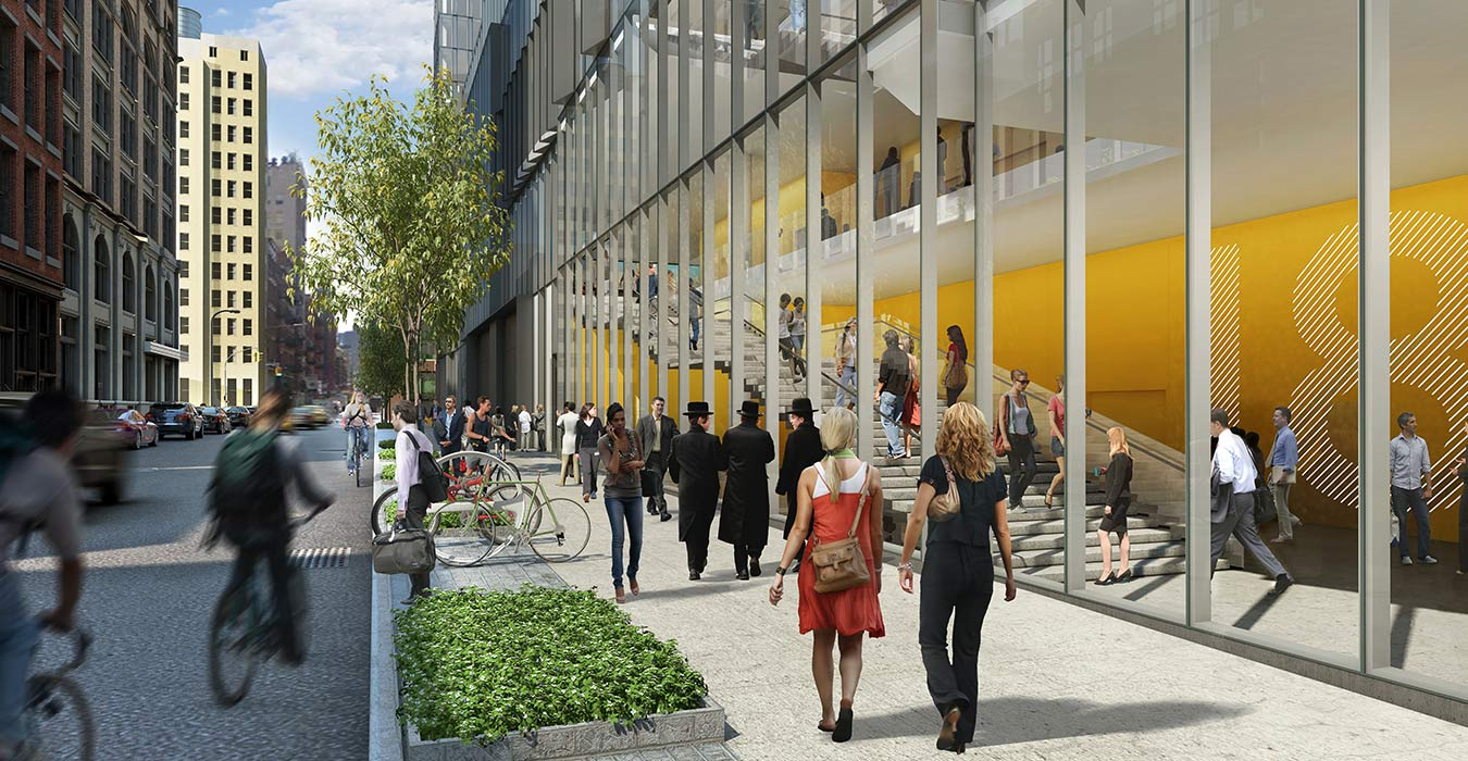 <p>By placing classrooms in the center of the building and hallway circulation along its transparent perimeter, 181 Mercer provides faculty and students with one-of-a-kind city views while also giving outside observers a sense of the building's activity. <br><small>Illustration by studioAMD</small></p>