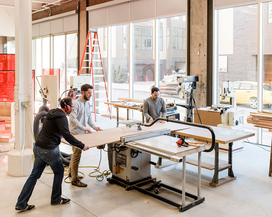 <p>A former loading dock on the first floor was converted into a much-needed fabrication lab. <br><small>&copy; Chris Leaman</small></p>