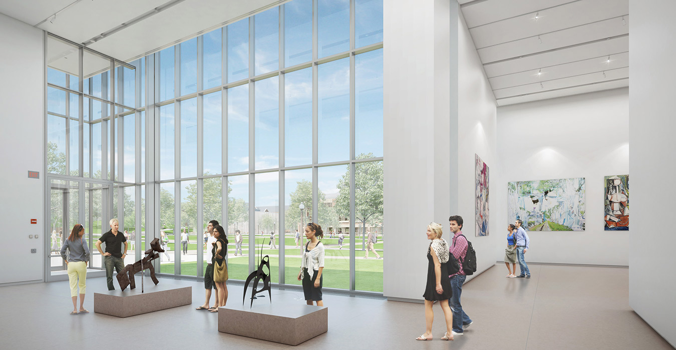 <p>The double-height lobby frames the Kemper Art Museum's expansive views of Brookings Hall, the sculpture garden, and Tisch Park. <br><small>©KieranTimberlake/studioAMD</small></p>