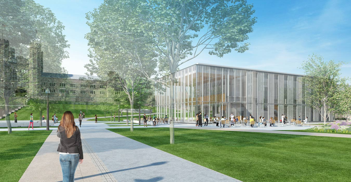<p>The Schnuck Pavilion will be a vital hub of activity bringing together dining, the Environmental Studies Program, the Office of Sustainability, and amenities for bicycle commuters. <br><small>©KieranTimberlake/studioAMD</small></p>