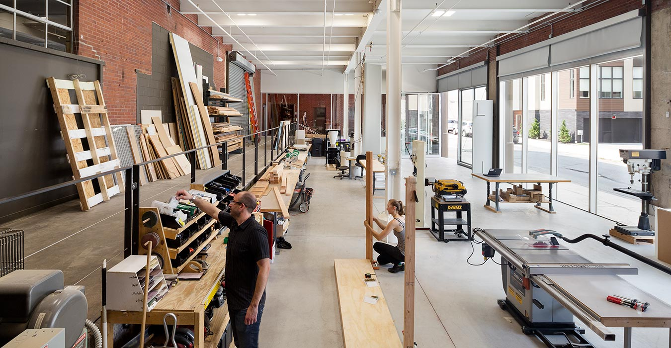 <p>The workshop and fabrication lab provide much-needed space to create prototypes and mock-ups of all scales. &nbsp;<br /><small>&copy;Chris Leaman</small></p>