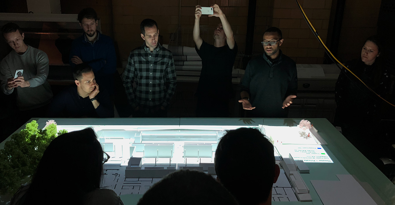 <p>For the Folger Shakespeare Library, we projected a crowd simulation onto a physical model to understand how visitors would move through the space.</p>