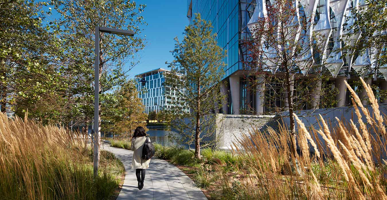 <p>The Embassy's landscape is inspired by the shared history of the United States and the United Kingdom, with tall grasses and wildflowers that pay homage to rolling American prairies and the site's early history as a River Thames wetland. <small><br> &copy;Richard Bryant</small> </p>