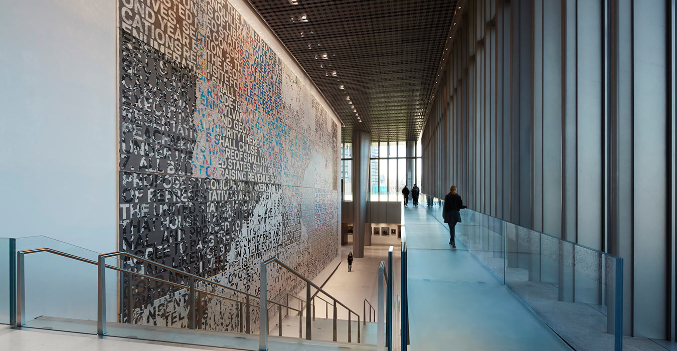 <p>The Embassy's art collection features works and commissions by contemporary artists from the United States and the United Kingdom that reflect our countries' cross-cultural dialogue. This piece by Mark Bradford is entitled <i>We the People</i>, and is comprised of 32 panels depicting the entire US Constitution.<small><br> &copy;Richard Bryant</small></p>