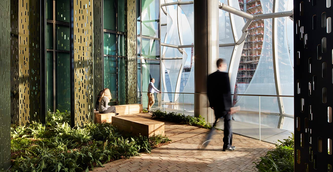 <p>Each of the Embassy's floors contain a garden inspired by a different United States ecosystem. These gardens enhance circulation and provide peaceful places to meet and reflect.<small><br> &copy;Richard Bryant</small> </p>