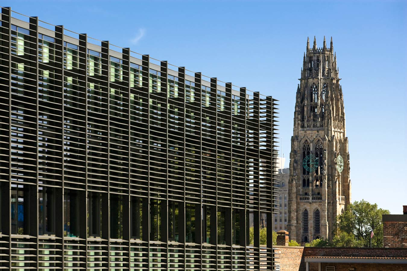 <p>The high-performance envelope of the sculpture building, designed to mitigate solar gain, creates the effect of an elegant contemporary gothic fenestration as seen against Yale's gothic structures beyond. <br><small>© Peter Aaron/OTTO</small></p>