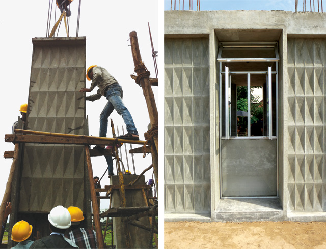 Closure panel is inserted and secured to complete the permanent formwork (left). Off-site fabricated infill panels are installed (right). <br />