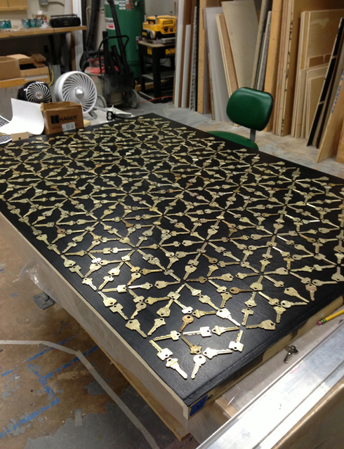 A completed panel dries in our fabrication shop.
