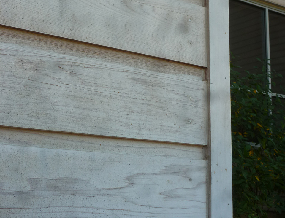 Mold growth, identifiable by the black spotting in this wood siding, can cause metal corrosion and compromise wall assemblies when moisture infiltrates the building envelope. It also is known to have negative impacts on human health.