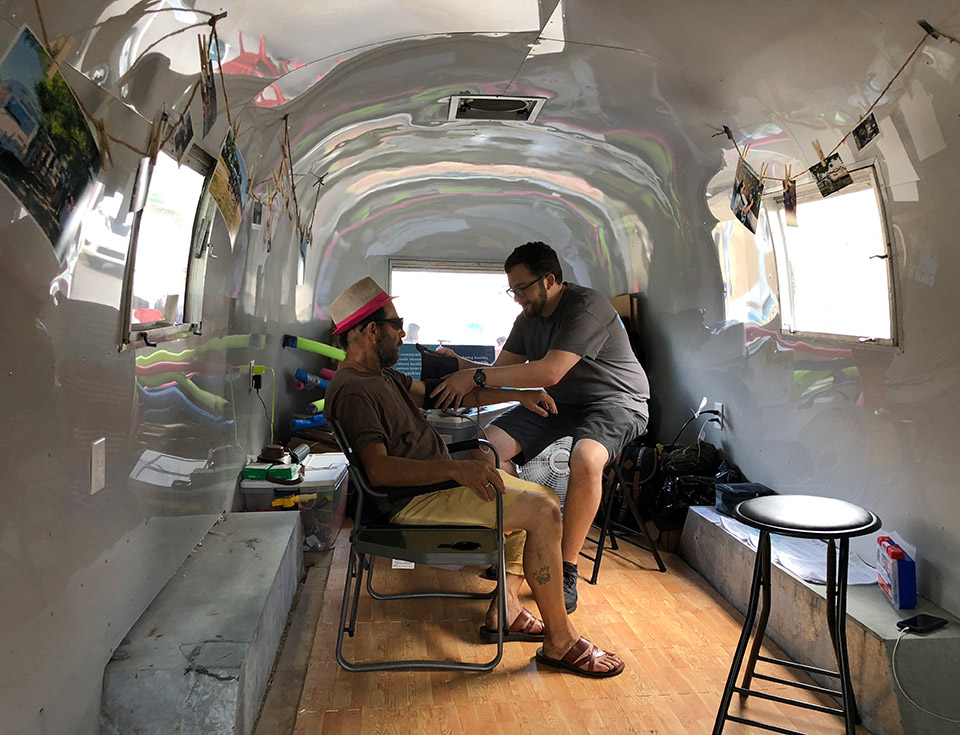 This past summer, CoLab rented an Airstream shell to test different programming options. The experience influenced design as our team realized what features would be the most helpful to the community as well as healthcare providers.