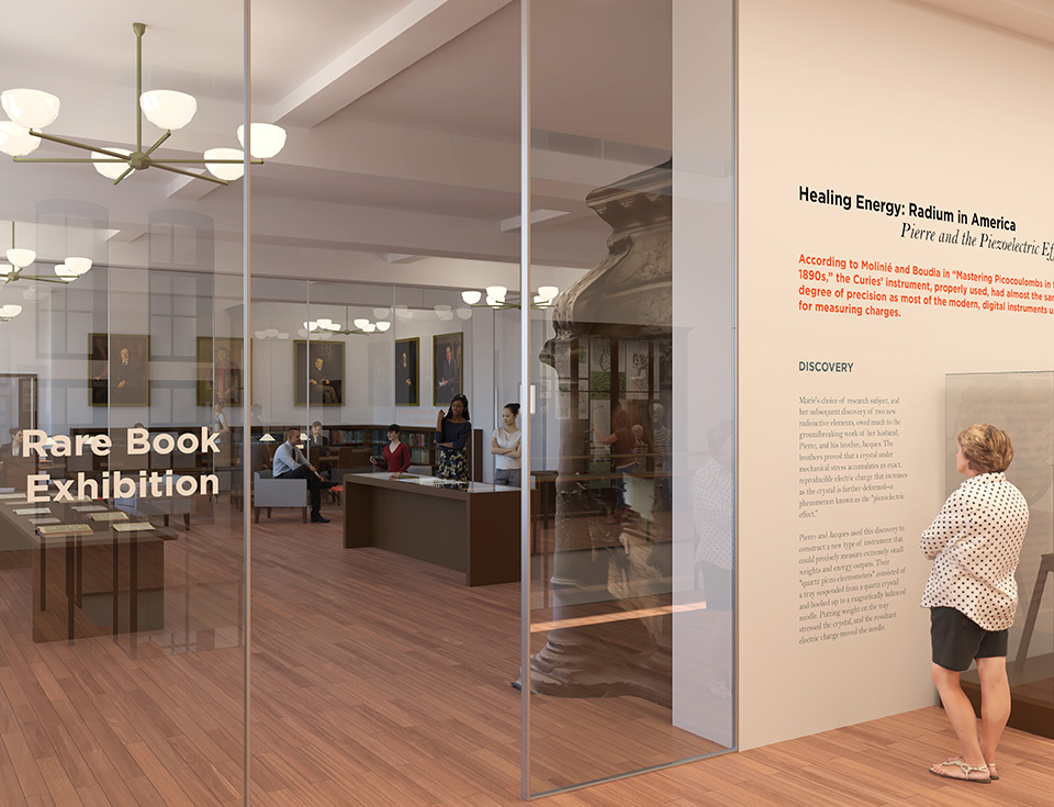 The rare book display will be the College's first-ever permanent library exhibit space.